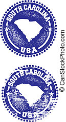 A couple of distressed stamps featuring a unique South Carolina state design.