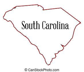 South Carolina - Outline map of the state of South Carolina
