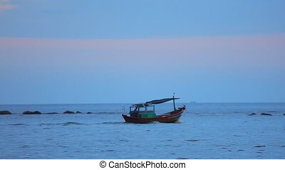 South China Sea With Fishing Boat Stock Footage