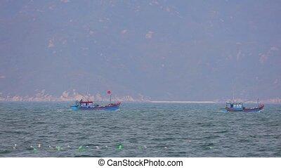 South China Sea Wooden Fishing Boats Vietnam