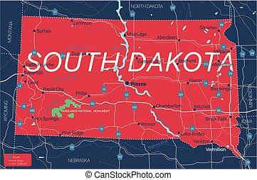 South Dacota state detailed editable map