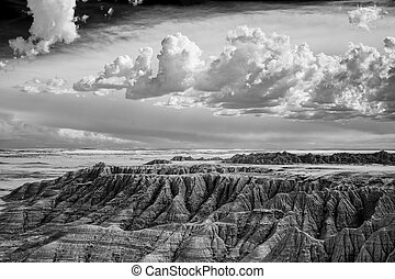 South Dakota Badlands Rugged Terrain and Sky Black and White...
