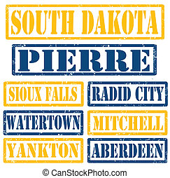 Set of South Dakota cities stamps on white background, vector illustration