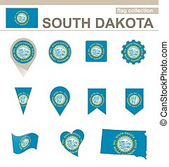 South Dakota Flag Collection, USA State, 12 versions