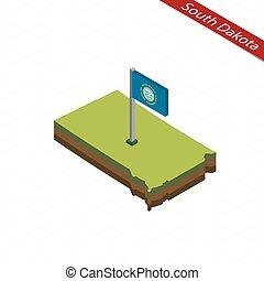 South Dakota Isometric map and flag. Vector Illustration. -...