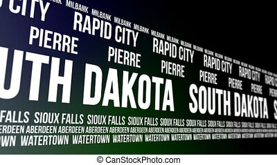 South Dakota State and Major Cities - Animated scrolling...