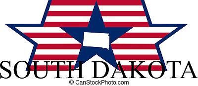 South Dakota state map, flag, and name.