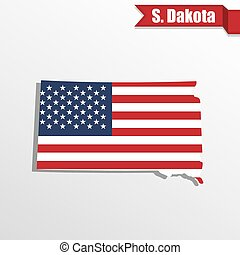 South Dakota State map with US flag inside and ribbon