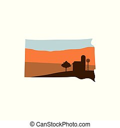 South Dakota State Shape with Farm at Sunset w Windmill, Barn, and a Tree