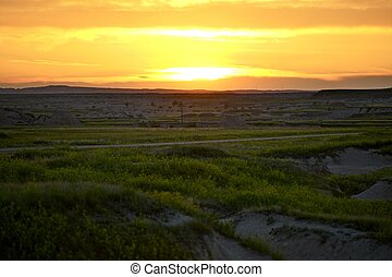 South Dakota Sunset - Badlands Landscape. Western South...