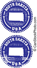 A couple of distressed stamps featuring a unique South Dakota state design.