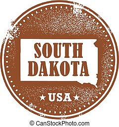 A distressed vintage style stamp featuring the state of South Dakota