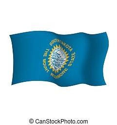 South Dakota waving flag. The Mount Rushmore state. Vector illustration. United States of America.