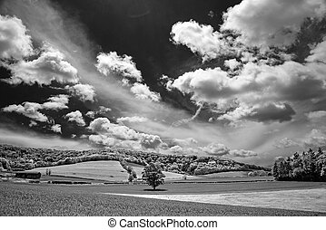 South Downs in monochrome