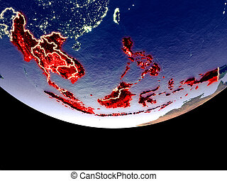 South East Asia at night from space