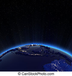 South east Asia city lights at night