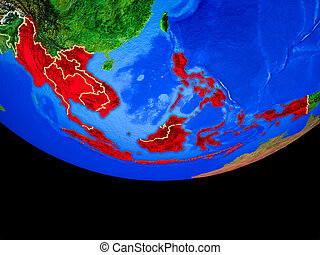 South East Asia from space on Earth