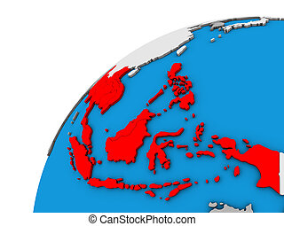 South East Asia on 3D globe