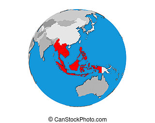 South East Asia on 3D globe isolated
