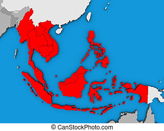 South East Asia on 3D map