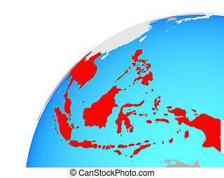 South East Asia on globe