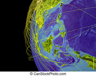 South East Asia on globe from space