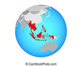 South East Asia on globe isolated