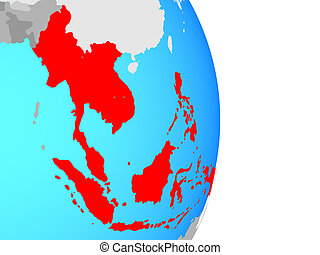 South East Asia on simple political globe. 3D illustration.