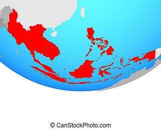 South East Asia on globe