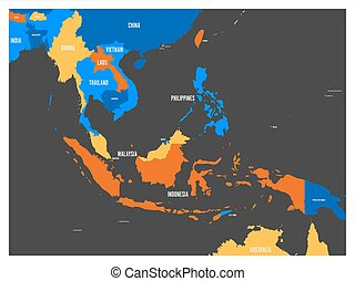 South East Asia political map in four colors with white country names labels. Simple flat vector illustration