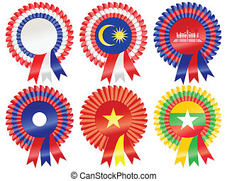 Rosettes to represent South East Asia countries; including Thailand, Malaysia, Cambodia, Laos, Vietnam and Burma (Myanmar)