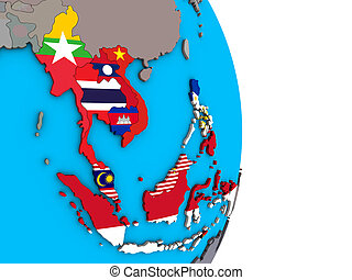 South East Asia with flags on 3D globe
