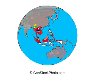 South East Asia with flags on globe isolated