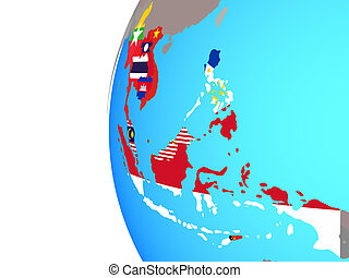 South East Asia with flags on globe