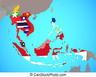 South East Asia with flags on map