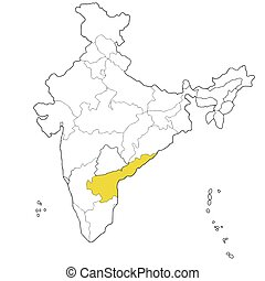 South-eastern state Andhra Pradesh on the map of India