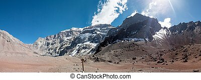 South face of Aconcagua - A trekking trip to the Plaza...
