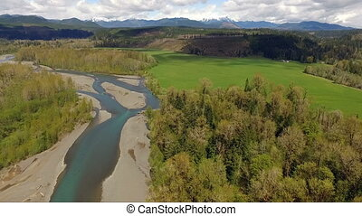 South Fork Skokomish River Olympic Mountain Range Washington...