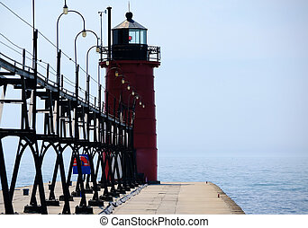 South Haven Lighthouse, built in 1903, Lake Michigan, MI,...
