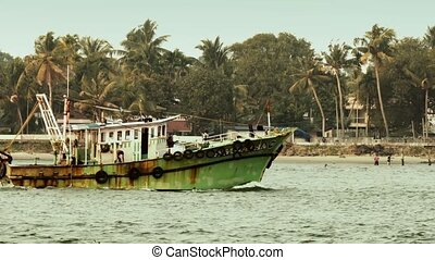 South india, fishing boat - Connected by artificial...