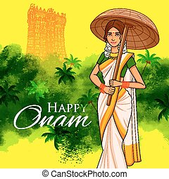 South Indian Keralite woman with umbrella celebrating Onam...