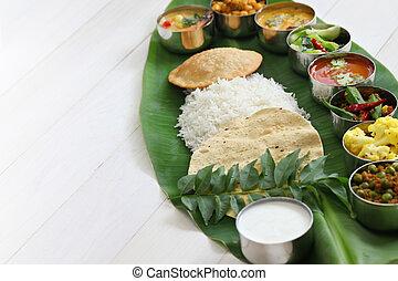 south indian meals on banana leaf