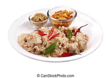 South indian upma / uppittu with chutney and mixture