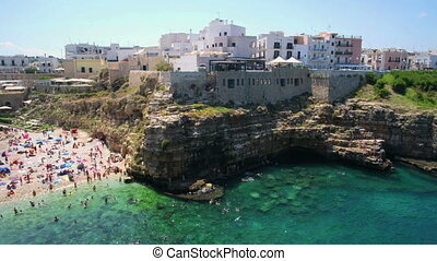 south italy sea village Polignano a Mare - Bari province -...