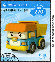 SOUTH KOREA - 2013: shows Dumpoo, a dump truck which is...