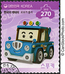 SOUTH KOREA - 2013: shows Spooki, a tow truck, series Brooms...