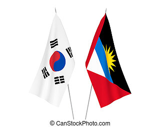 South Korea and Antigua and Barbuda flags - National fabric ...