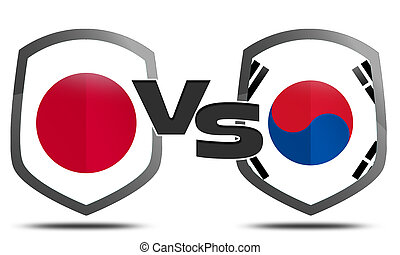 South Korea and Japan flag and shield ready to fight on trade war