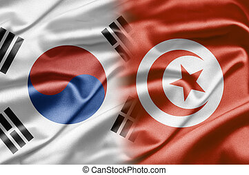 South Korea and the nations of the world. A series of images with South Korean flag
