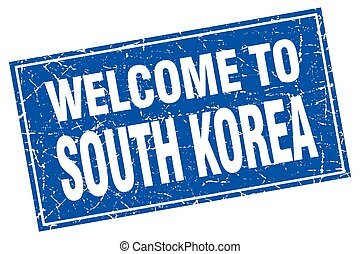 South Korea blue square grunge welcome to stamp